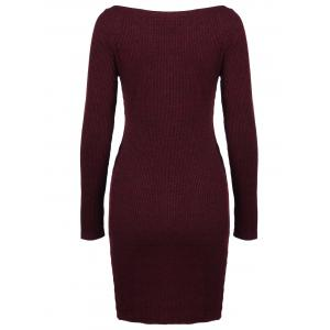 Zippers Embellished Ribbed Pencil Casual Dress Winter -
