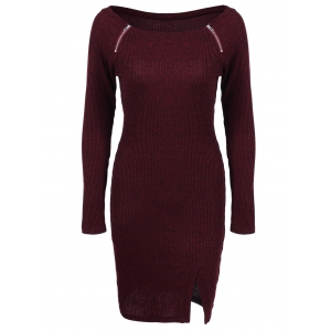Zippers Embellished Ribbed Casual Dress Winter