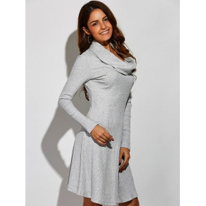 Cowl Neck Ribbed A-Line Dress -