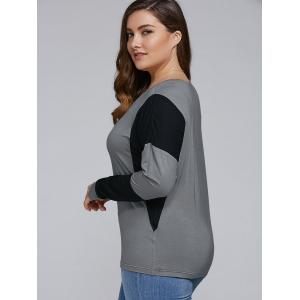 Plus Size Batwing Sleeve Splicing T-Shirt -