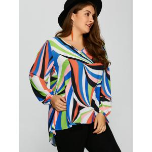 Plus Size Colorful Print High Low Blouse -
