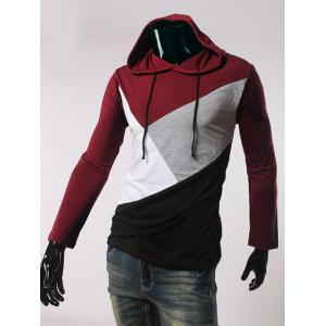 Long Sleeve Color Block Hooded T-Shirt - RED 2XL