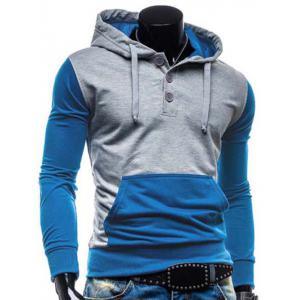Fashion Hooded Two Color Splicing Button Design Slimming Long Sleeve Cotton Blend Hoodie For Men -