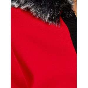 Faux Fur Hooded Knitted Cape Cardigan -