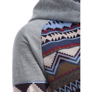 Tribal Print Raglan Sleeves Pocket Hoodie - COLORMIX XL