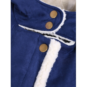 Quilted Fleeced Faux Suede Hooded Coat - BLUE 4XL