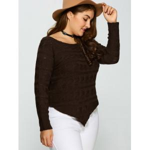 Plus Size Asymmetric Hem Cable Knit Sweater - DEEP BROWN 5XL