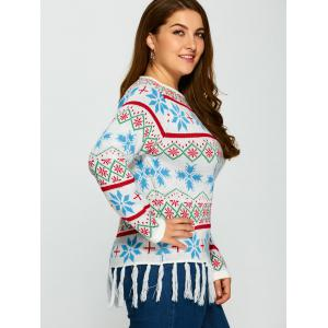 Plus Size Snowflake Pattern Tassel Trim Sweater - WHITE 5XL