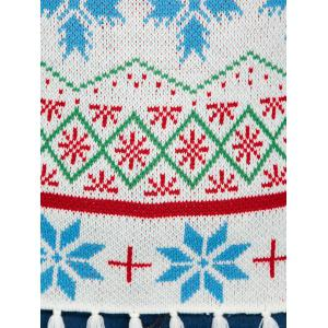 Plus Size Snowflake Pattern Tassel Trim Sweater - WHITE XL