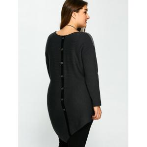 Plus Size Buttons Embellished Asymmetric Hem Sweater -