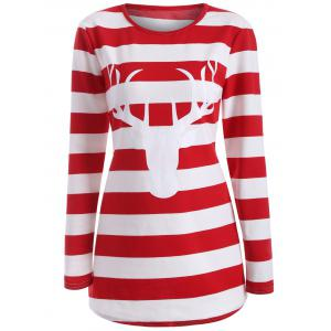 Striped Elk Print T-Shirt
