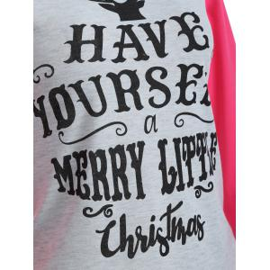 Raglan Sleeve Christmas Print T-Shirt - HOT PINK XL