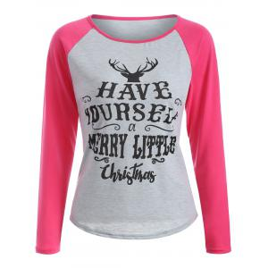 Raglan Sleeve Christmas Print T-Shirt - Hot Pink - S