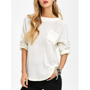 Loos Fit One Pocket Rivets Embellished Knitwear