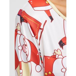 Santa Claus Pattern A-Line Dress - PINK AND WHITE ONE SIZE