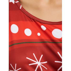 Snowflake Print Long Sleeves Xmas Swing Dress - RED AND GREEN ONE SIZE