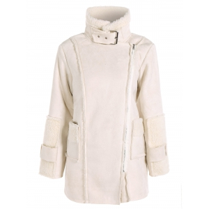 Sherpa Fleece Faux Suede Coat