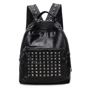 Zippers Metal Rivets Textured Leather Backpack -