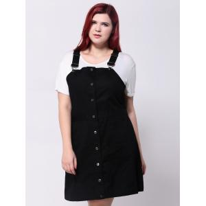 Plus Size Front Button Up Pinafore Dress -