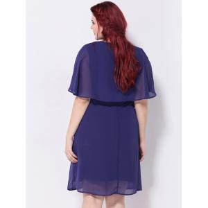 Short Sleeves Capelet Chiffon Dress - NAVY BLUE 2XL