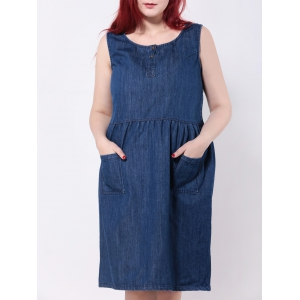 Sleeveless Double Pockets Jean Smock Dress - Denim Blue - 3xl