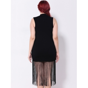 Fringed Sleeveless Bodycon Dress -