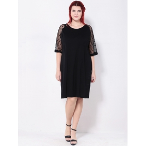 Plus Size Polka Dot Casual Shift Dress With Sleeve - BLACK 5XL