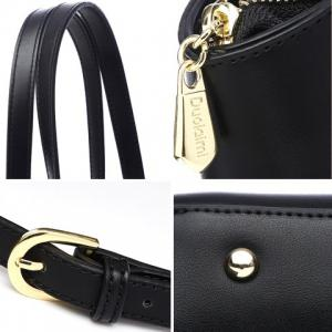 PU Leather Embroidery Colour Splicing Shoulder Bag -