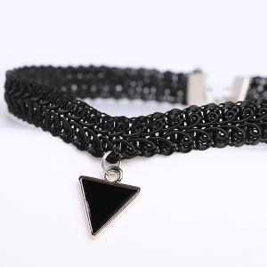 Vintage Triangle Statement Choker Necklace - BLACK