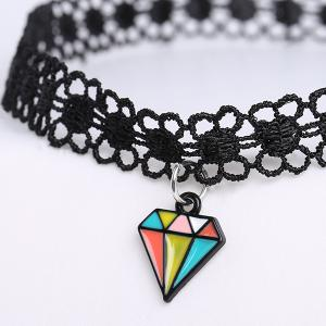 Diamond Shape Floral Choker -