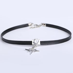 PU Leather Rhinestone Star Choker Necklace -