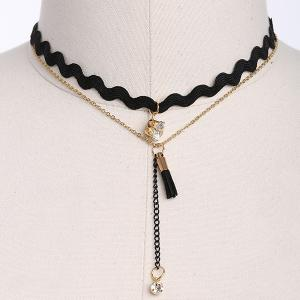 Rhinestone PU Leather Tassel Layered Necklace