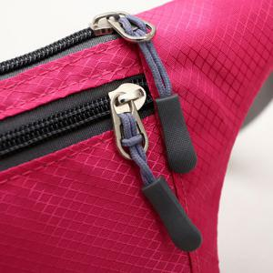 Colour Spliced Double Zipper Nylon Crossbody Bag - ROSE RED