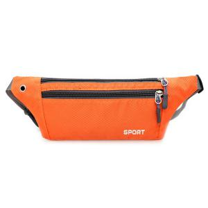 Colour Spliced Double Zipper Nylon Crossbody Bag - Orange