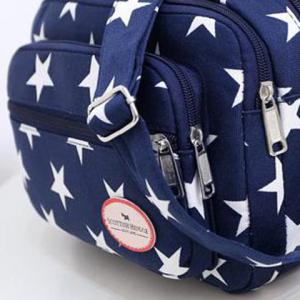 Zippers Star Printed Colour Splicing Crossbody Bag -
