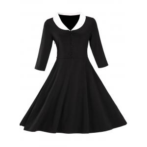 Retro Shawl Collar Button Full Dress - Black - S