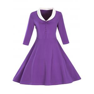 Retro Shawl Collar Button Full Dress - Purple - M
