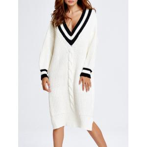 V Neck Oversized Slit Midi Sweater Dress - White - One Size
