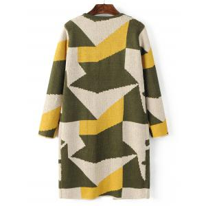 Geometric Pattern Pocket Sweater Cardigan -
