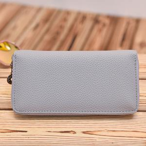 Colour Block Butterfly Print Textured Leather Wallet -