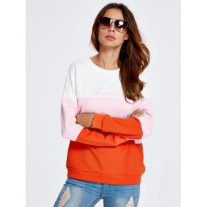 Life Letter Color Block Sweatshirt - ORANGE RED L