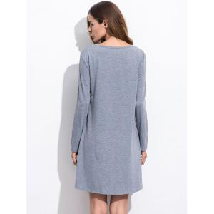 Lace Up T Shirt Dress with Long Sleeve - GRAY L