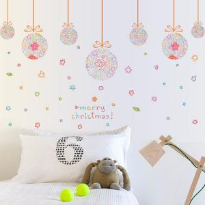 Removable Merry Christmas Colorful Star Ball DIY Wall Stickers - Colorful - L