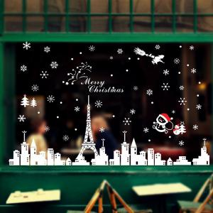 Merry Christmas City Snowflake DIY Glass Window Wall Stickers