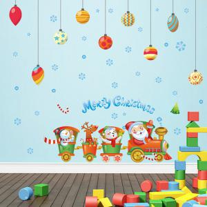 Merry Christmas Cartoon Train DIY Window Home Decor Wall Stickers - Colorful - Xl