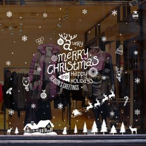 Merry Christmas DIY Wall Stickers Glass Showcase Decoration - WHITE