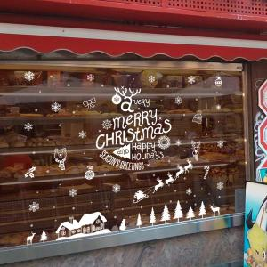 Merry Christmas DIY Wall Stickers Glass Showcase Decoration -