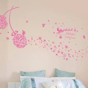 Snowflake Ball Christmas Wall Stickers Living Room Decoration - PINK