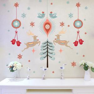 Christmas Deer Wall Stickers Living Room Showcase Decoration - COLORFUL