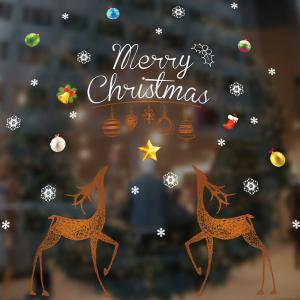 Removable Merry Christmas DIY Wall Stickers Glass Showcase Decor -